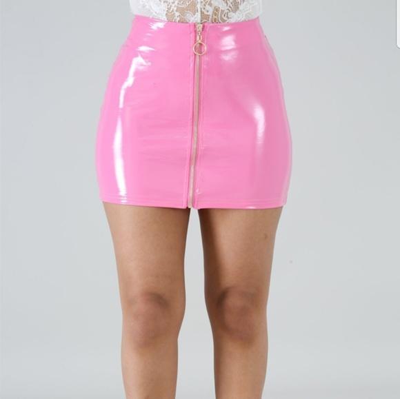 b640109d36a9 Skirts | Pink Barbie Styled Faux Latex Skirt | Poshmark